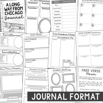 A Long Way from Chicago Novel Study, Interactive Notebook