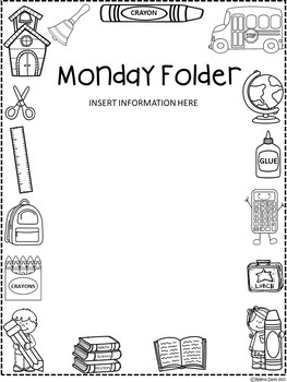 A+ Monday, Weekly, or Homework Folder Cover *EDITABLE* by