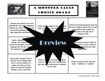 A Monster Calls Choice Board Novel Study Activities Menu