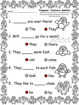 A+ Penguins: Fill In the Blank.Multiple Choice Sight Word