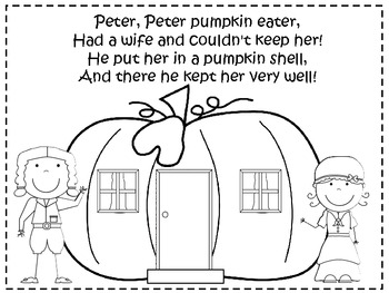 A+ Peter, Peter Pumpkin Eater Poster And Coloring Sheet by