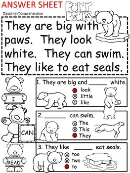 A+ Polar Bear Comprehension: Differentiated Instruction