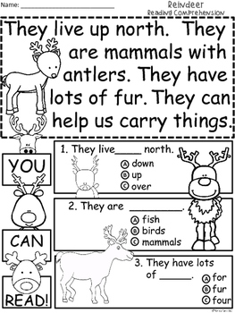 A+ Reindeer Comprehension:Differentiated Instruction For