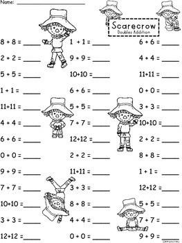 A+ Scarecrow Doubles Addition: Doubles Plus One, Doubles