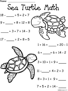 Turtle Math : turtle, Turtle:, Math..., Addition, Subtraction, Differentiated, Practice