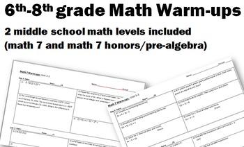 A Years Worth of Warm-ups! (7th grade through pre-algebra