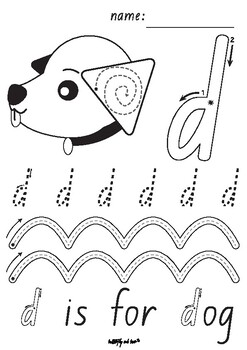 A-Z lower case pre-writing tracing worksheets by AuthorZoo