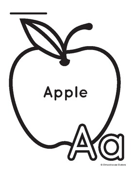 Letter A for Apple Coloring and Trace Sheet by Schoolhouse