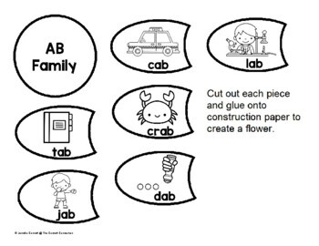 AB Word Family Flower Craft or Center by The Connett