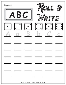 ABC Alphabet Writing Practice Roll and Write Activity by