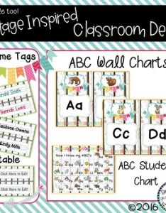 also classroom vintage decor abc wall charts desk  name tags rh teacherspayteachers