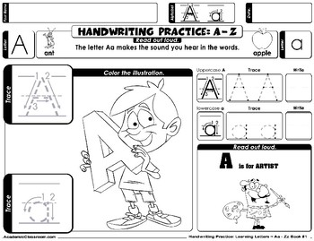 Handwriting Practice Worksheets Learn to Write Letters Aa