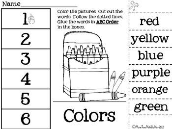 ABC Order-Cut & Paste Printables-10 themed abc order