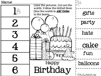 ABC Order-Cut & Paste Printables-10 themed abc order