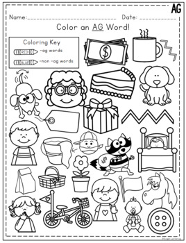 AG Word Family Activities and Worksheets *NO PREP* by