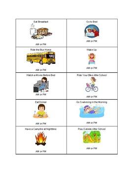 AM vs PM Worksheet by Melissa Pummill | Teachers Pay Teachers