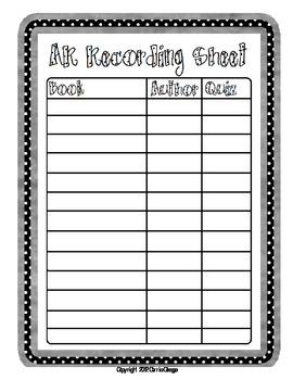 AR Book Recording Sheet By Carrie Ossege Teachers Pay Teachers