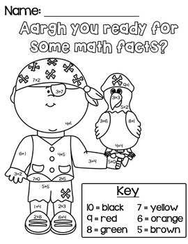Aargh You Ready For Math Facts Coloring Worksheet by Miss