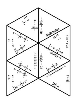 Absolute Value Equations and Inequalities Tarsia Puzzle by