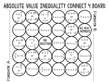 Absolute Value Inequalities Connect 4 Game by Fun with
