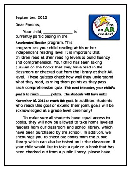 Accelerated Reader Parent Information Letter By