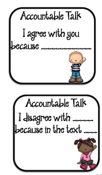 Accountable Talk Discussion Task Cards AND Self Assessment