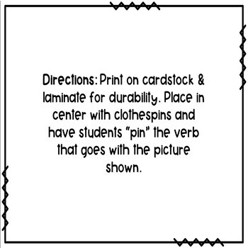 Action Verbs Pin It! Task Cards- Fall/Autumn Activity by
