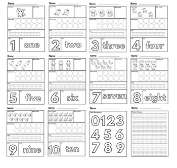 Activity Pack: Number Formation 1-10 Worksheets