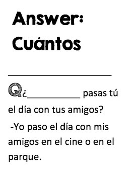 Activity to practice and review Spanish question words by