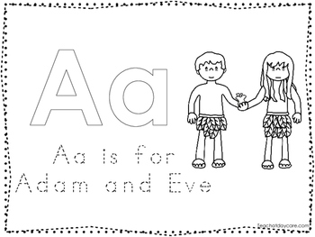 Adam and Eve Color and Trace Worksheet. Preschool