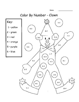 Add & Subtract Color By Number by Mrs Thompson's Treasures