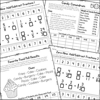 Add & Subtract Fractions Enrichment: Math Logic Puzzles by