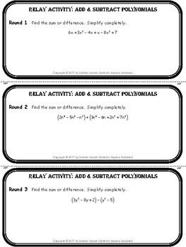Add & Subtract Polynomials Relay Activity by Debbie's