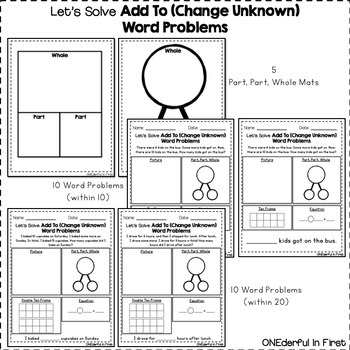 Add To (Change Unknown) Word Problems (within 10 and