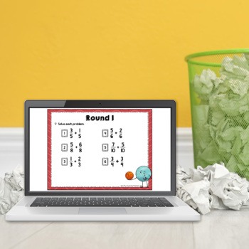 Adding and Subtracting Fractions Trashketball Math Game by