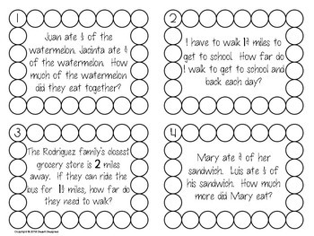 Add and Subtract Fractions Word Problems Task Cards Common