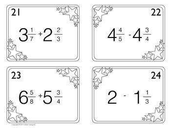 Add and Subtract Mixed Numbers Task Cards by Desert