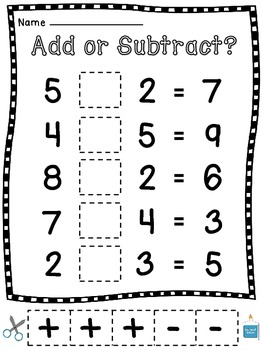 Addition and Subtraction Cut Sort Pastes (Choosing an