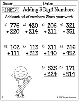 Adding 2 Three Digit Numbers Worksheet
