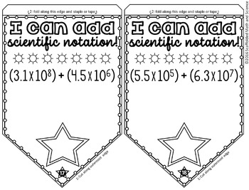 Adding Scientific Notation Pennant by Scaffolded Math and