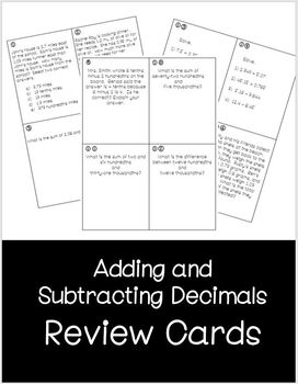 Adding Subtracting Decimals Review Cards by Kaylin