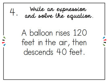 Integer Operations Word Problems Task Cards by Couple of