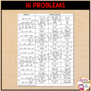 Marie De Los Reyes Algebra Accents Answer Key : marie, reyes, algebra, accents, answer, Adding, Subtracting, Radicals, Coloring, Activity, Algebra, Accents