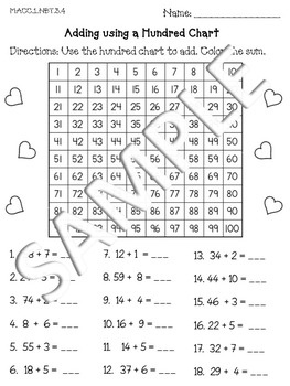 Adding Using a Hundred Chart Go Math MACC.1.NBT.3.4 by