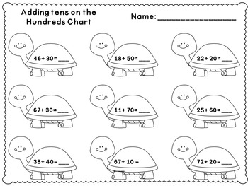 Adding and Subtracting By Tens on the Hundreds Chart