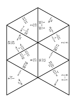 Adding and Subtracting Fractions Tarsia Puzzle by