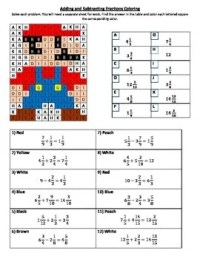 Adding and Subtracting Mixed Numbers Coloring Worksheet by ...