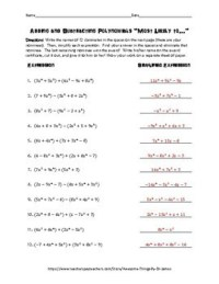 Applications Of Adding And Subtracting Polynomials
