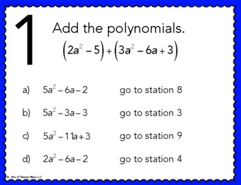 Add and Subtract Polynomials Stations Maze Activity by Mrs