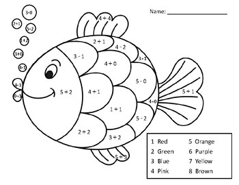 Adding and Subtracting Within 5 Math Coloring Page_Fish by